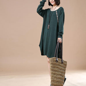 Green baggy spring sweaters oversize knit dresses