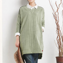 Laden Sie das Bild in den Galerie-Viewer, Green cotton spring dress plus size dresses long sleeve women blouse shirt