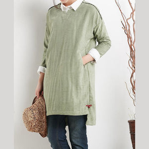 Green cotton spring dress plus size dresses long sleeve women blouse shirt