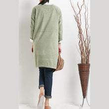 Load image into Gallery viewer, Green cotton spring dress plus size dresses long sleeve women blouse shirt