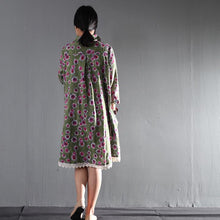 Load image into Gallery viewer, Green daisy print causal cotton sundress plus size linen maternity summer dresses