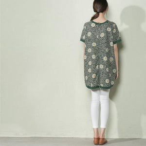 Green daisy print linen sundress plus size cotton summer dress-will be available soon
