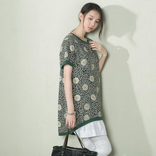Load image into Gallery viewer, Green daisy print linen sundress plus size cotton summer dress-will be available soon