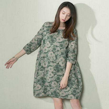 Green daisy print sundress loose oversize linen summer dresses