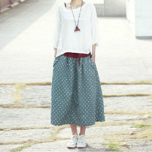 Green dotted linen skirts plus size skirt