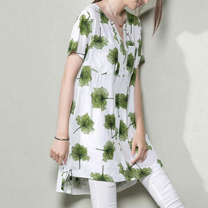 Green falling leaves sundress print shift dresses oversize summer maternity dresses