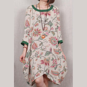 Green floral cotton sundress handmade plus size shift dress casual blouse
