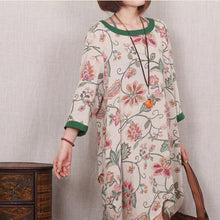 Load image into Gallery viewer, Green floral cotton sundress handmade plus size shift dress casual blouse