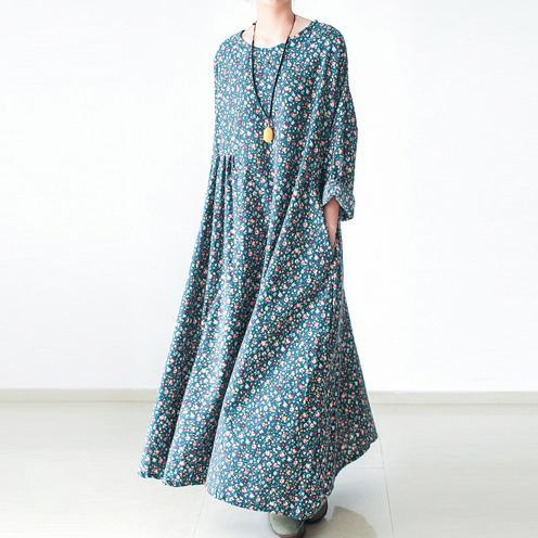 Green floral plus size cotton dresses long sleeve fall dresses print maxi dresses