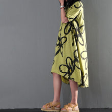 Load image into Gallery viewer, Green floral print maxi dress linen summer dress causal sundresses