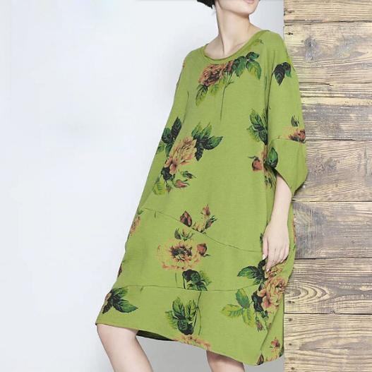 Green floral shift dress summer dress cotton linen