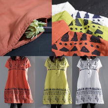 Load image into Gallery viewer, Green floral sundress linen summer shift dresses short sleeve