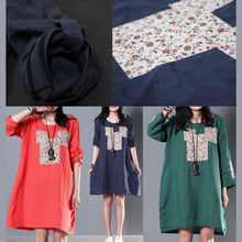 Load image into Gallery viewer, Green half sleeve linen sundress summer cotton shift dresses