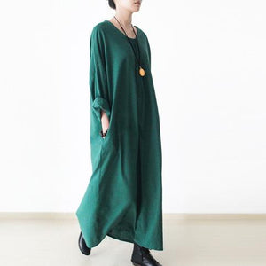 Green linen dresses long sleeves caftans cotton maxi dress