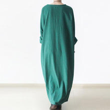 Load image into Gallery viewer, Green linen dresses long sleeves caftans cotton maxi dress