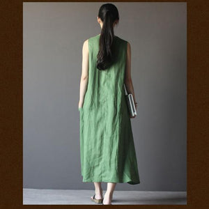 Green linen summer maxi dress sleeveless sundress vestidos