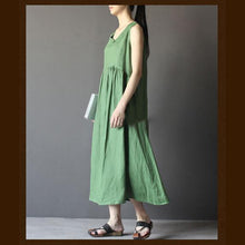 Load image into Gallery viewer, Green linen summer maxi dress sleeveless sundress vestidos