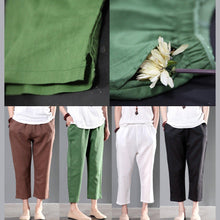 Laden Sie das Bild in den Galerie-Viewer, Green linen summer pants plus size women crop pants trousers