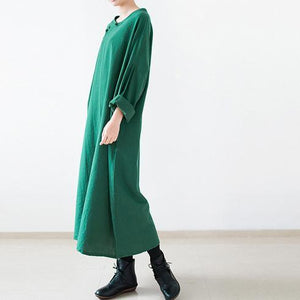 Green long spring linen dresses Vintage style cotton dress