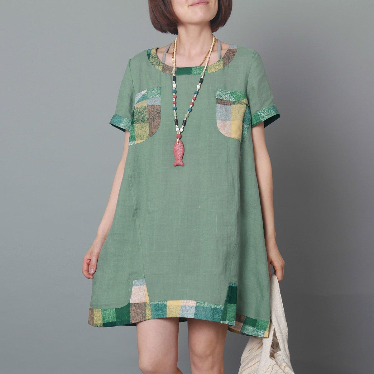 Green overszie linen sundress baggy short sleeve summer dress casual