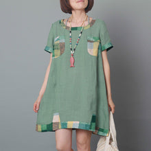 Load image into Gallery viewer, Green overszie linen sundress baggy short sleeve summer dress casual