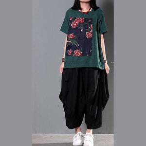 Green patchwork loose women summer blouse short linen shirt top