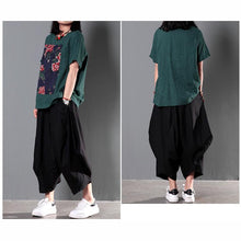 Load image into Gallery viewer, Green patchwork loose women summer blouse short linen shirt top