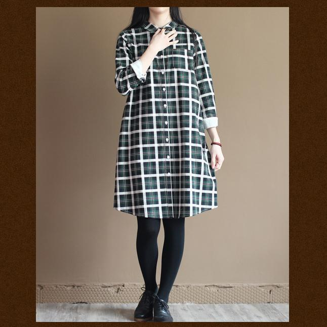 Green plaid long sleeve cotton shirt dress summer spring dress