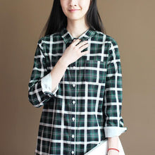 Load image into Gallery viewer, Green plaid long sleeve cotton shirt dress summer spring dress