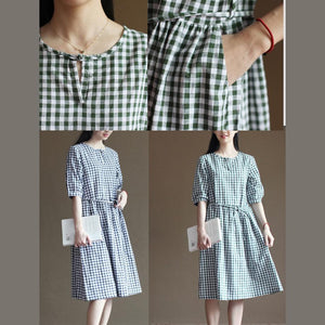 Green plaid sundress cotton summer fit flare dresses vintage style