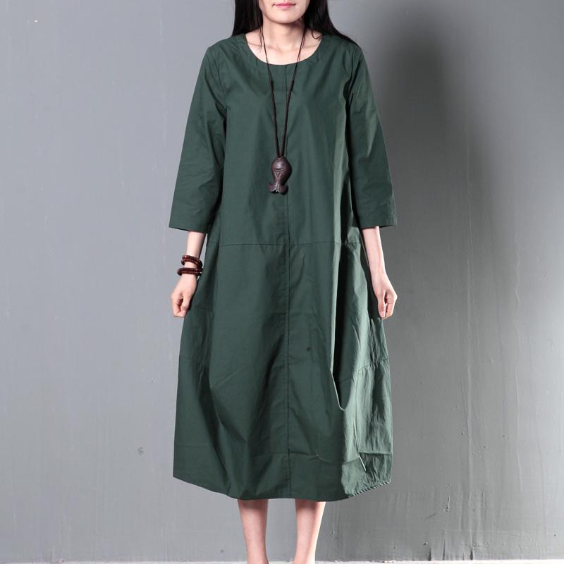 Green plus size cotton sundress summer maxi dresses causal traveling dresses