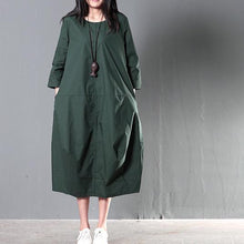 Load image into Gallery viewer, Green plus size cotton sundress summer maxi dresses causal traveling dresses