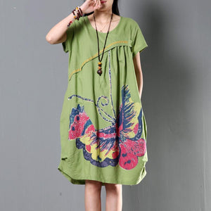 Green plus size sundress casual short sleeve summer shift dresses flying butterfly