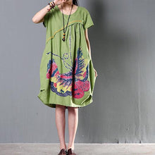 Load image into Gallery viewer, Green plus size sundress casual short sleeve summer shift dresses flying butterfly