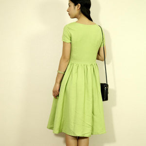 Green retro linen sundress long summer linen maxi dresses