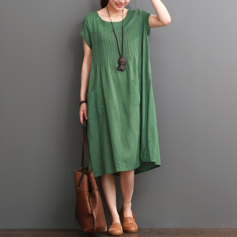 Green summer cotton dress plus size cotton maxi dresses