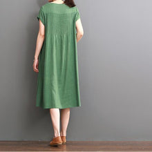Load image into Gallery viewer, Green summer cotton dress plus size cotton maxi dresses
