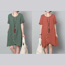 Load image into Gallery viewer, Green summer linen dresses asymmetric oversize shift dresses