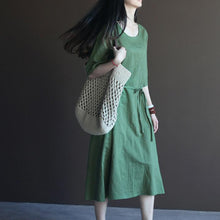 Load image into Gallery viewer, Green summer linen dresses half sleeve oversize shift dresses