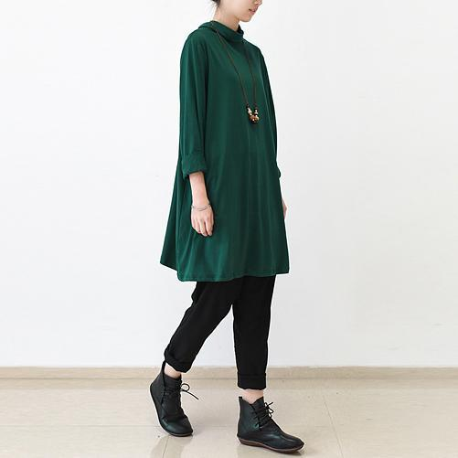 Green turtle neck oversized pullover dresses