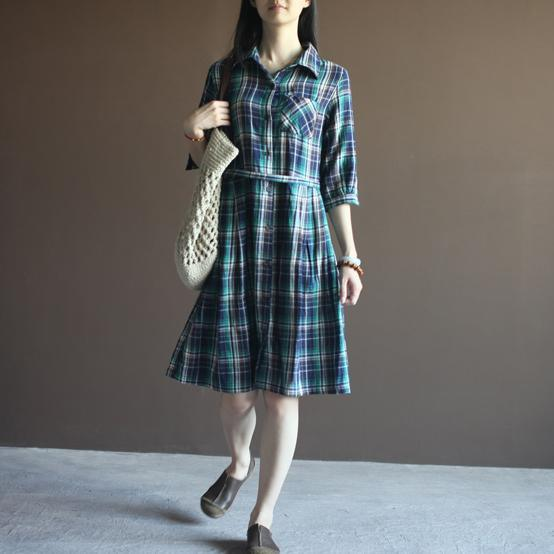 Grid cotton dress plaid sundress with Three Quarter Sleeves