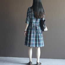 Load image into Gallery viewer, Grid cotton dress plaid sundress with Three Quarter Sleeves