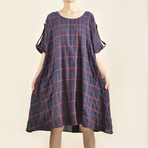 Grid plus size sundress cotton dress oversize