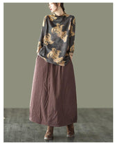 Load image into Gallery viewer, Women Winter Padded Elastic Waist Solid Color Skirts Ladies Vintage Cotton Linen Loose Skirt Female 2020 Skirts