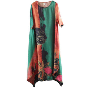 Half Sleeve Round Neck Loose Printed Dress