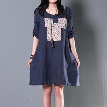 Load image into Gallery viewer, Half sleeve Navy summer shift dresses casual sundress plus size