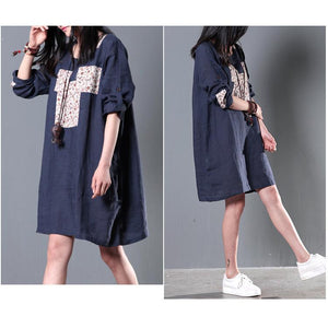 Half sleeve Navy summer shift dresses casual sundress plus size