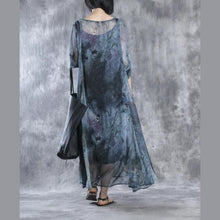 Load image into Gallery viewer, Half sleeve print chiffon dresses long maxi dress two pieces