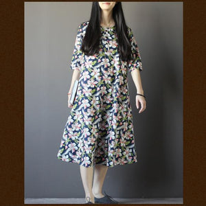 Half sleeve print cotton maxi dress summer plus size casual sundress