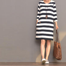 Load image into Gallery viewer, Half sleeve strip cotton dress summer dressescasual sundresses